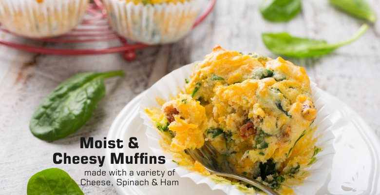 Cheesy Spinach & Ham Muffins-front
