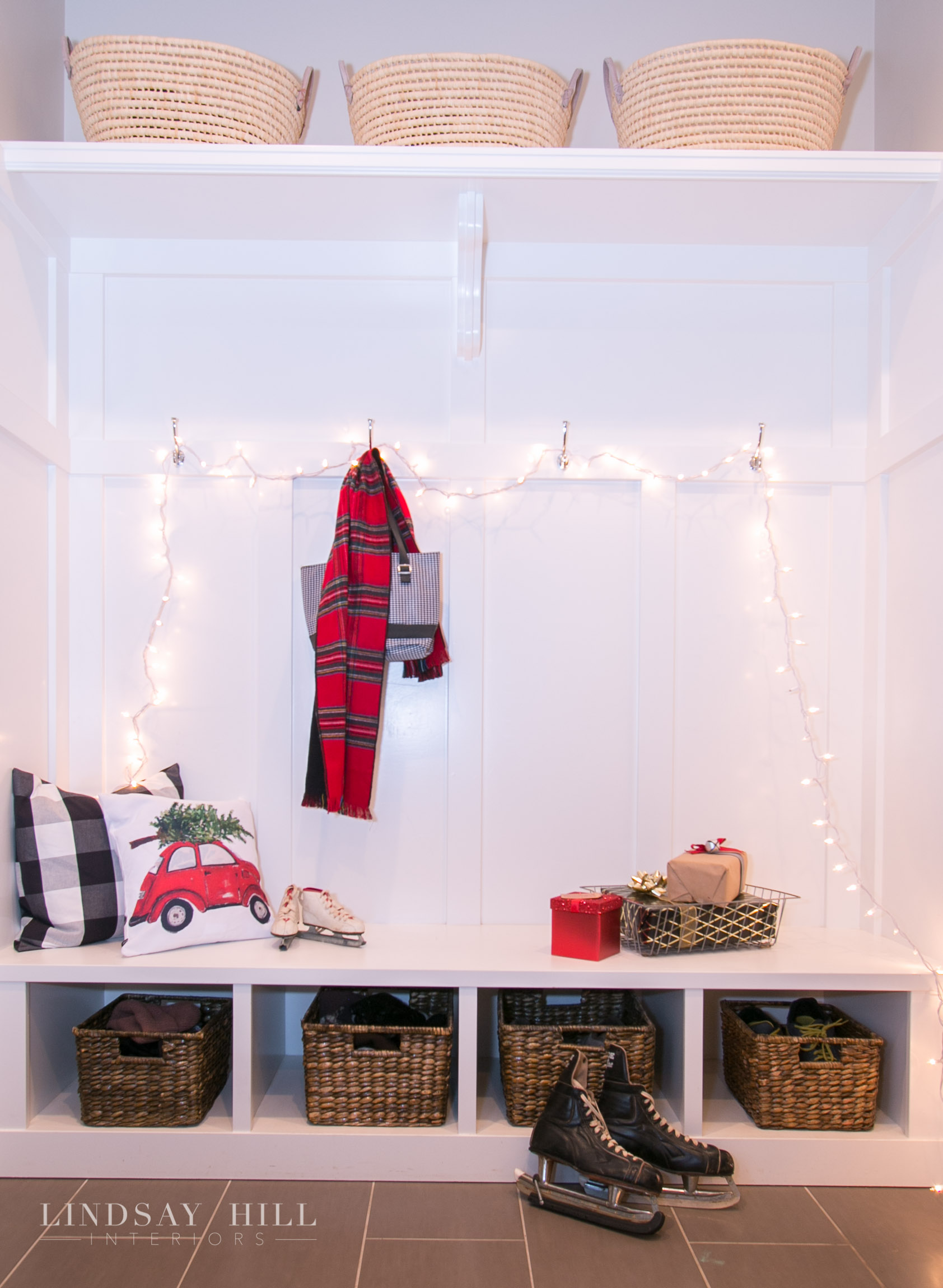 mudroom with christmas lights