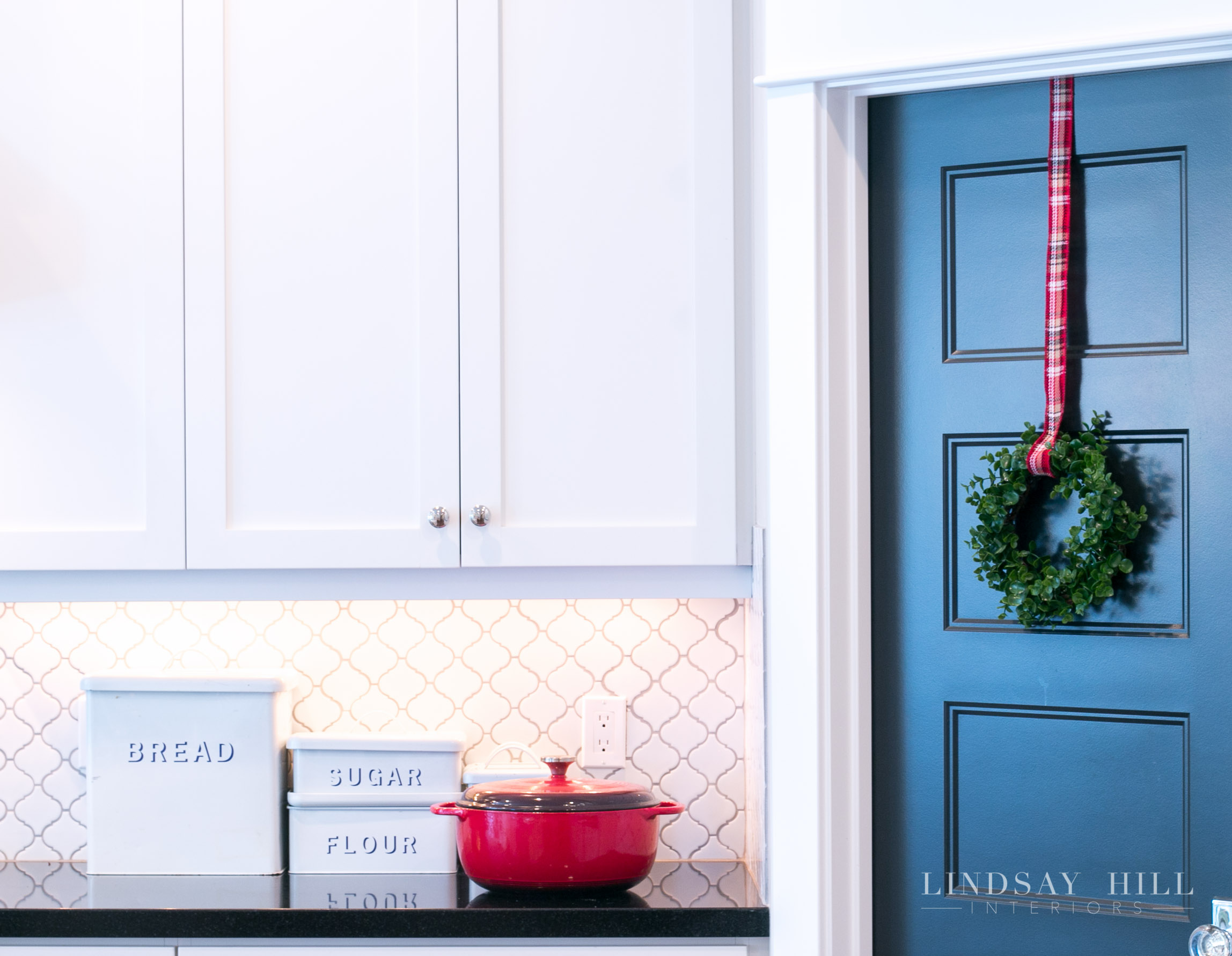 Lindsay Hill Interiors holiday home tour wreath on pantry door