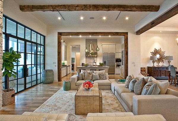 wood ceiling treatments beams in modern living room