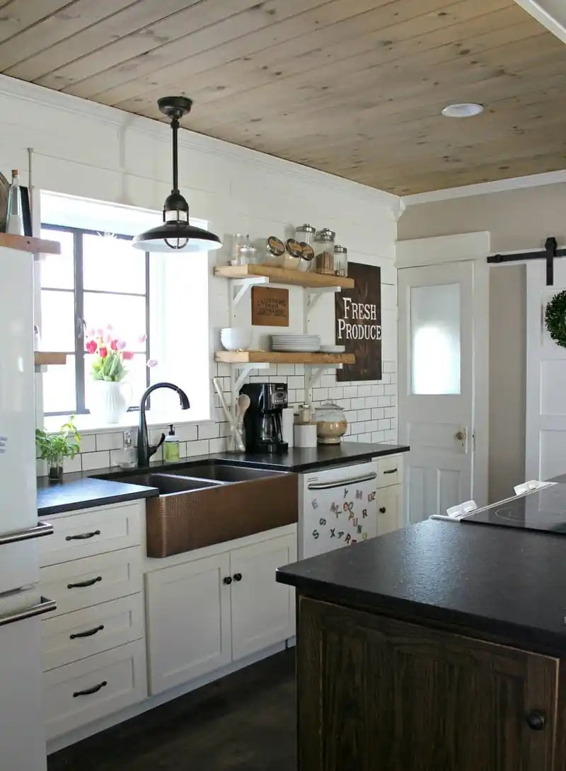 wood ceiling treatment kitchen