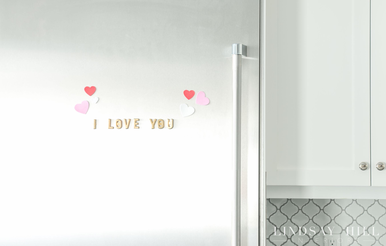 lindsay hill interiors simple valentine's day decor magnet fridge letter