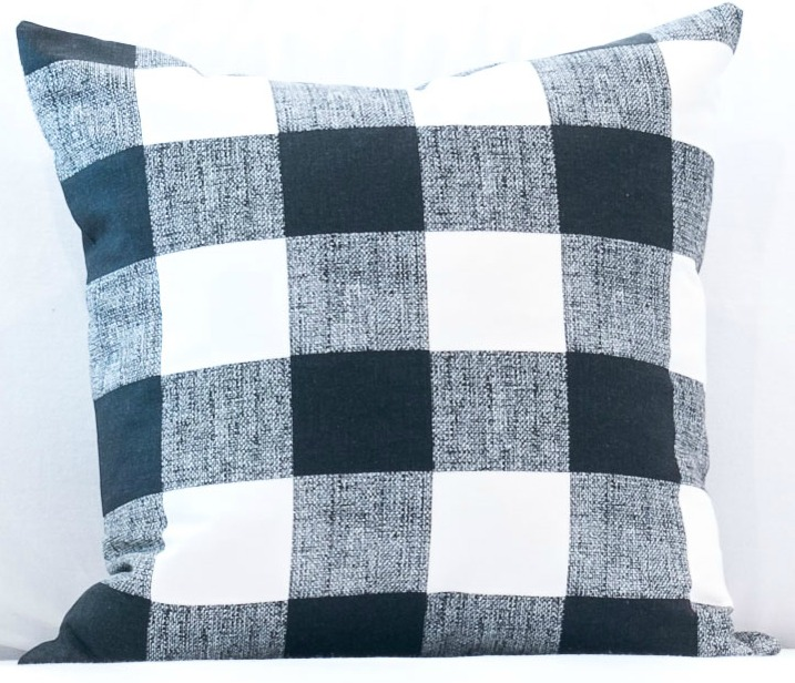 black and white buffalo check pillow
