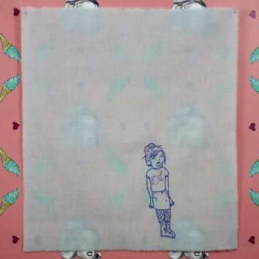 A Closer Proximation of Me At 14, embroidery on cotton, 2014