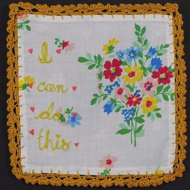 Lindsay Joy, Self-Motivational Hankie with heart border. embroidery and crochet on found textile, 2016.