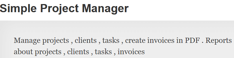 Simple Project Manager