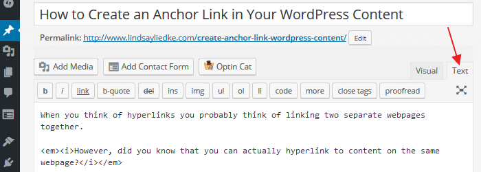 Anchor Link - Text Editor