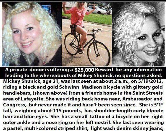 Mickey Shunick, Missing from Lafayette, LA