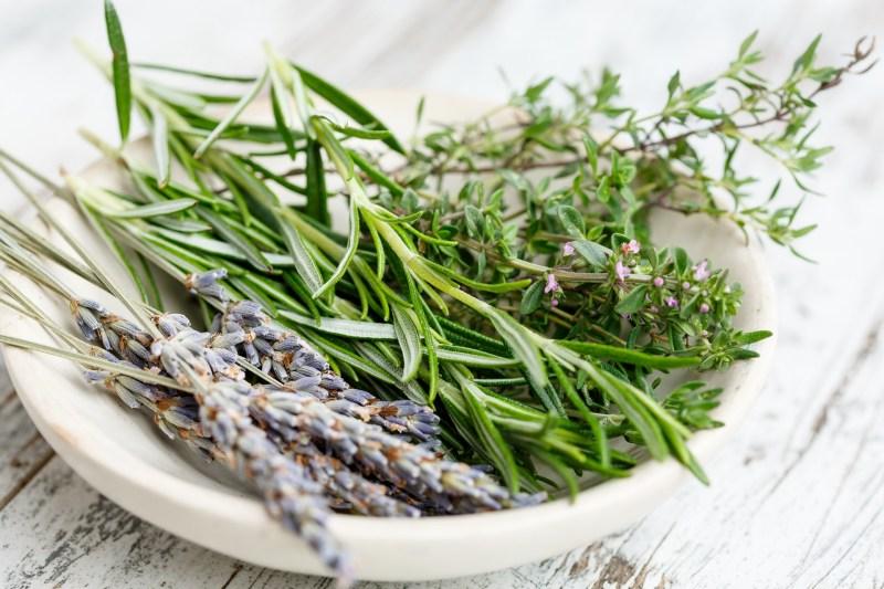 A bowl of home grown herbs