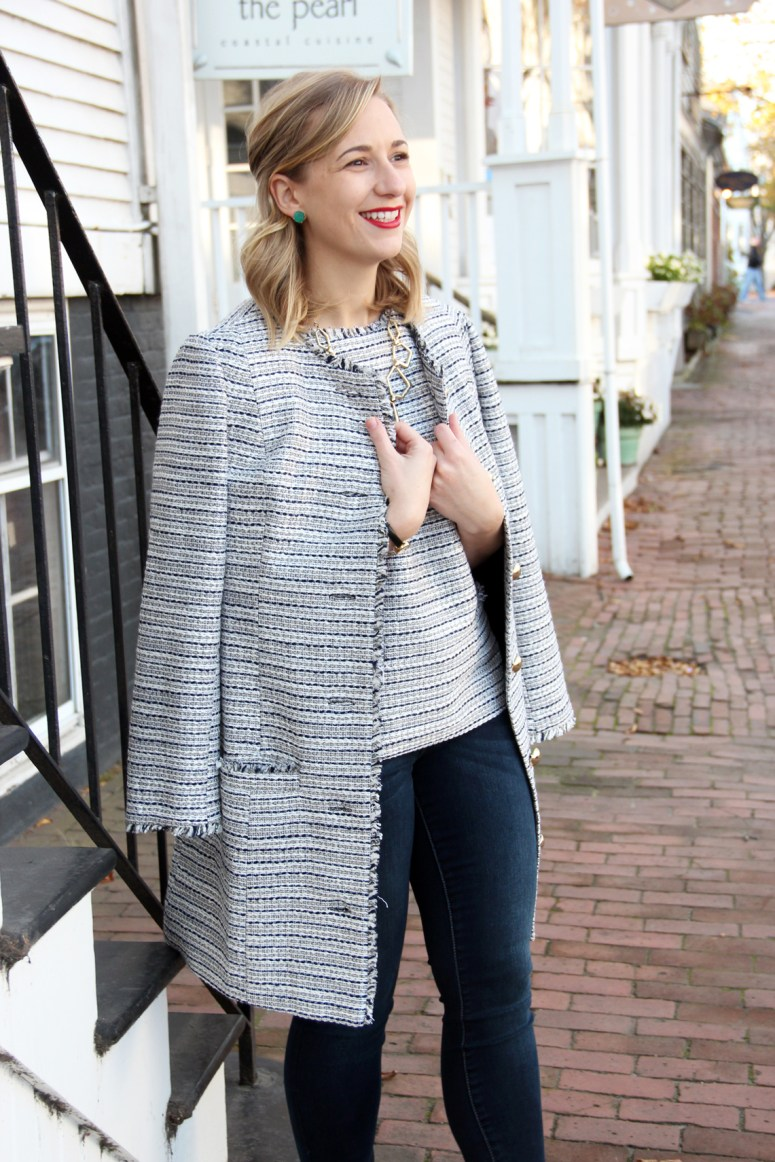 LL Tweed coat & jeans