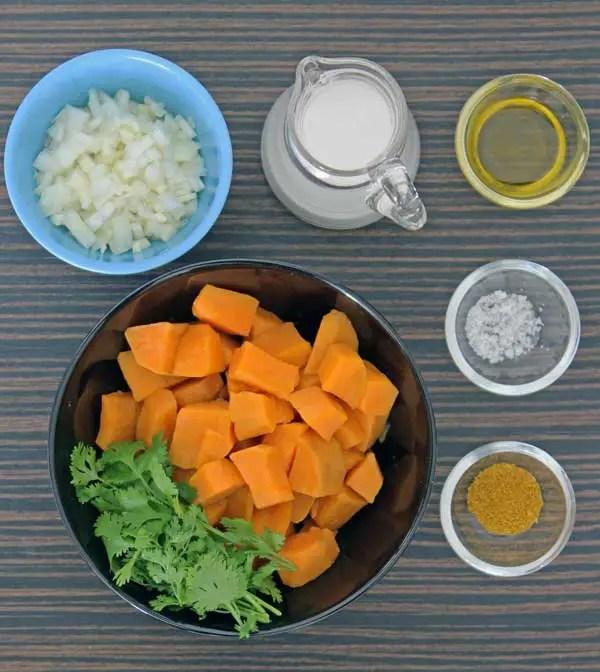 Ingredientes para o puré de batata doce
