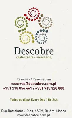 Restaurant Descobre, Belém