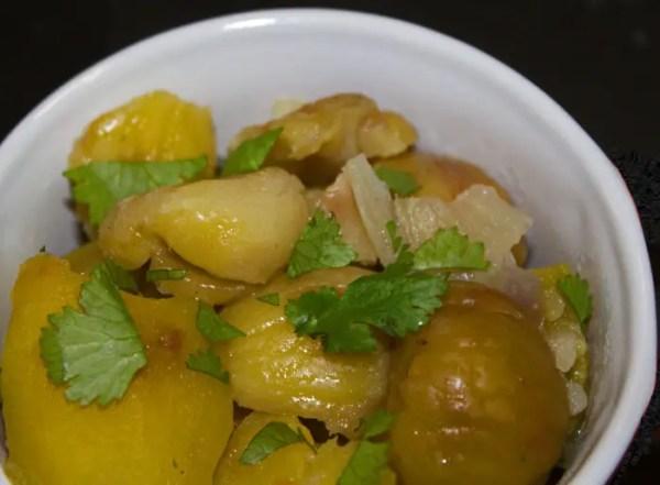 Patates douces et châtaignes en cocotte
