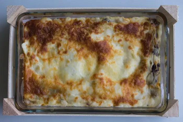 Lasagnes végétariennes légères aux champignons et aux poireaux