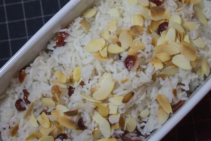 Riz pilaf aux amandes et canneberges
