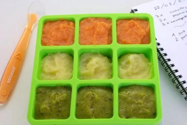Purées de légumes prêtes à congeler dans un bac à glaçon sans BPA
