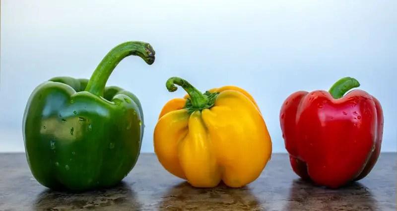 3 poivrons : vert, jaune, rouge