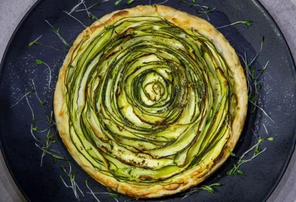 Tarte aux courgettes vertes en spirale