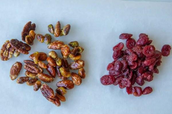 Fruits caramélisés et canneberges