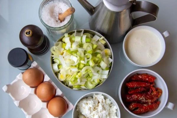 Ingrédients pour la tarte aux poireaux
