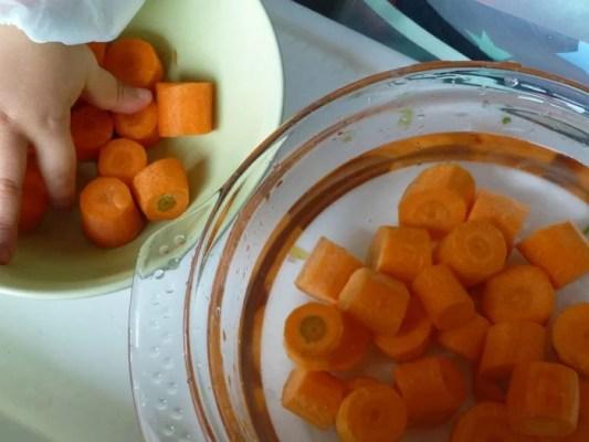 Rondelles de carottes lavées