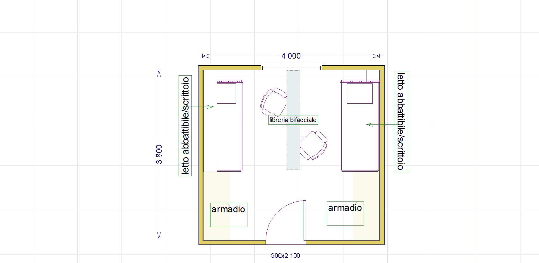 Una cameretta per due con diritto di privacy lineatre for Programma per disegnare stanze