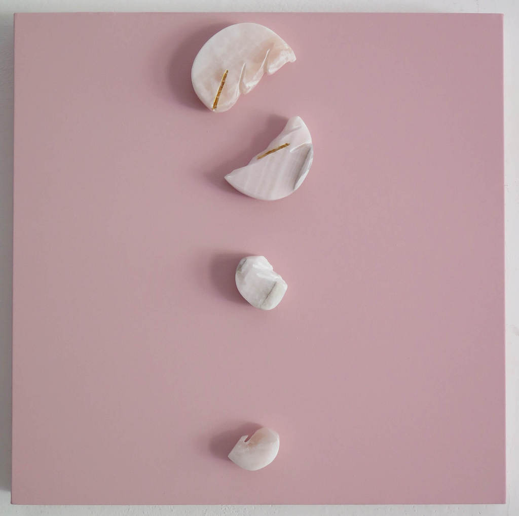 Gioni David Parra, Matter Conceptual VII , 2019 Pink Venice Pigment on Canvas, Gold leaf and Onyx 50 x 50 x 7 cm 19.69 x 19.69 x 2.76 in, Contini Contemporary Art Gallery London-min
