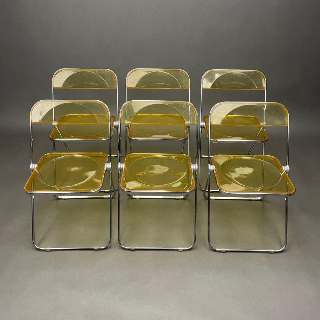 lot de 6 chaises plia jaune giancarlo piretti anonima castelli 1