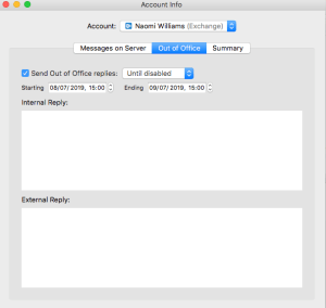 Mac mail set out of office