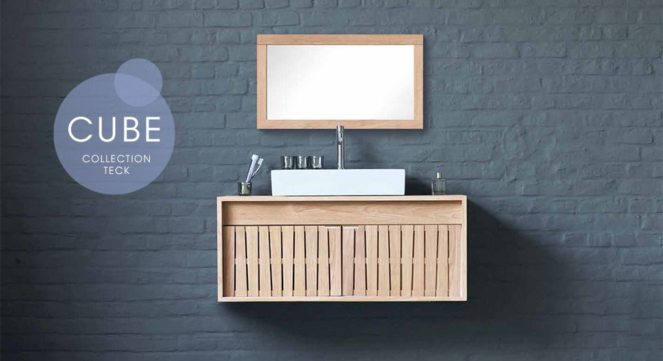 salle de bain en bois massif line art