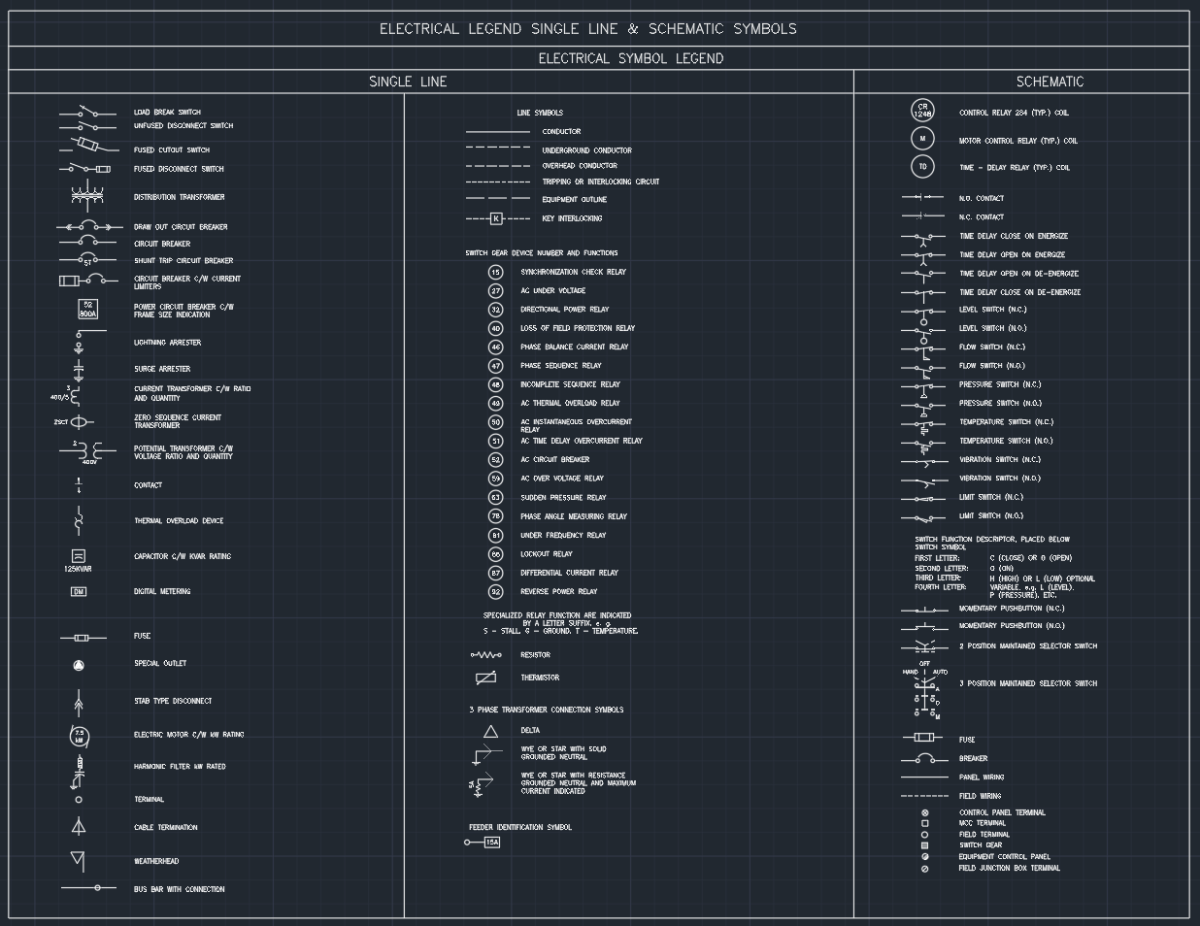 Electrical Legend Single Line Schematic Symbols Autocad Free