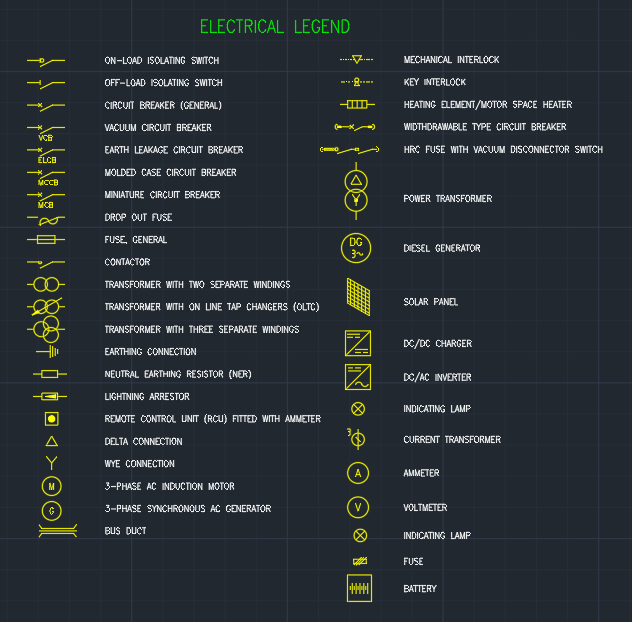 Electrical Legend Autocad Free Cad Block Symbols And Cad Drawing