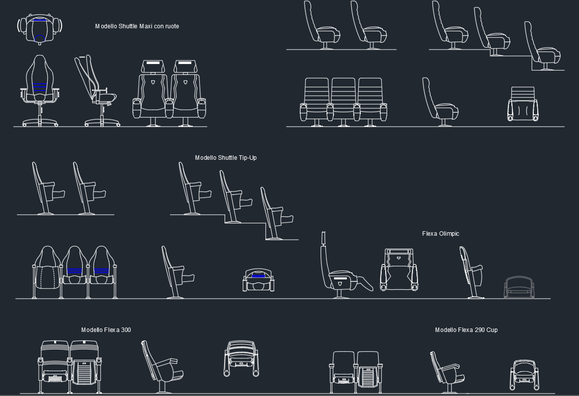 Auditorium Armchairs Cad Block And Typical Drawing For