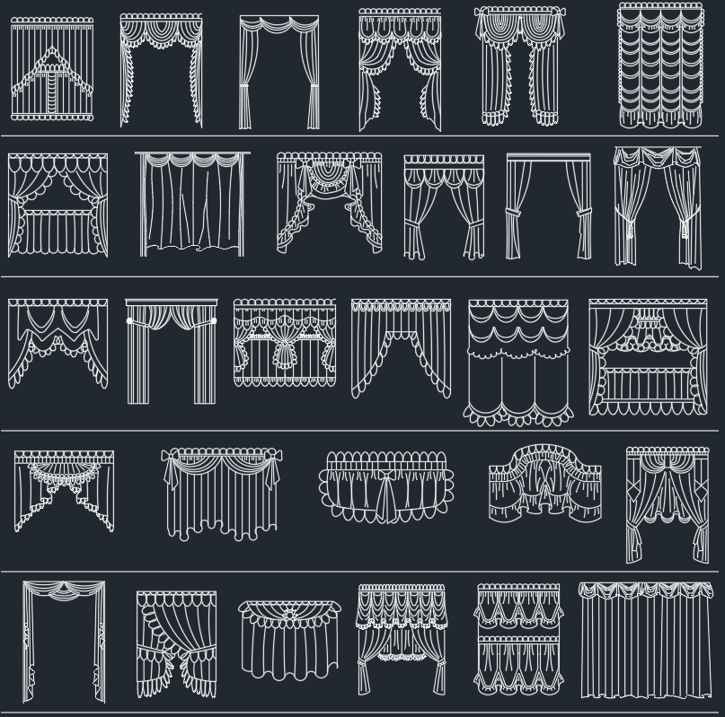 curtains – CAD Block And Typical Drawing For Designers