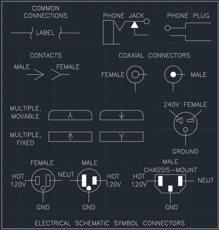 electrical schematic symbol connectors autocad free cad block rh linecad com