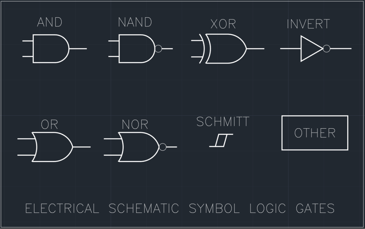 Electrical Schematic Symbol Logic Gates | | AutoCAD Free CAD Block Symbols  And CAD Drawing