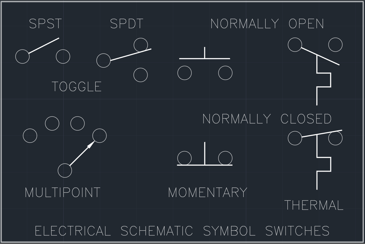Electrical Schematic Symbol Switches AutoCAD Free CAD Block