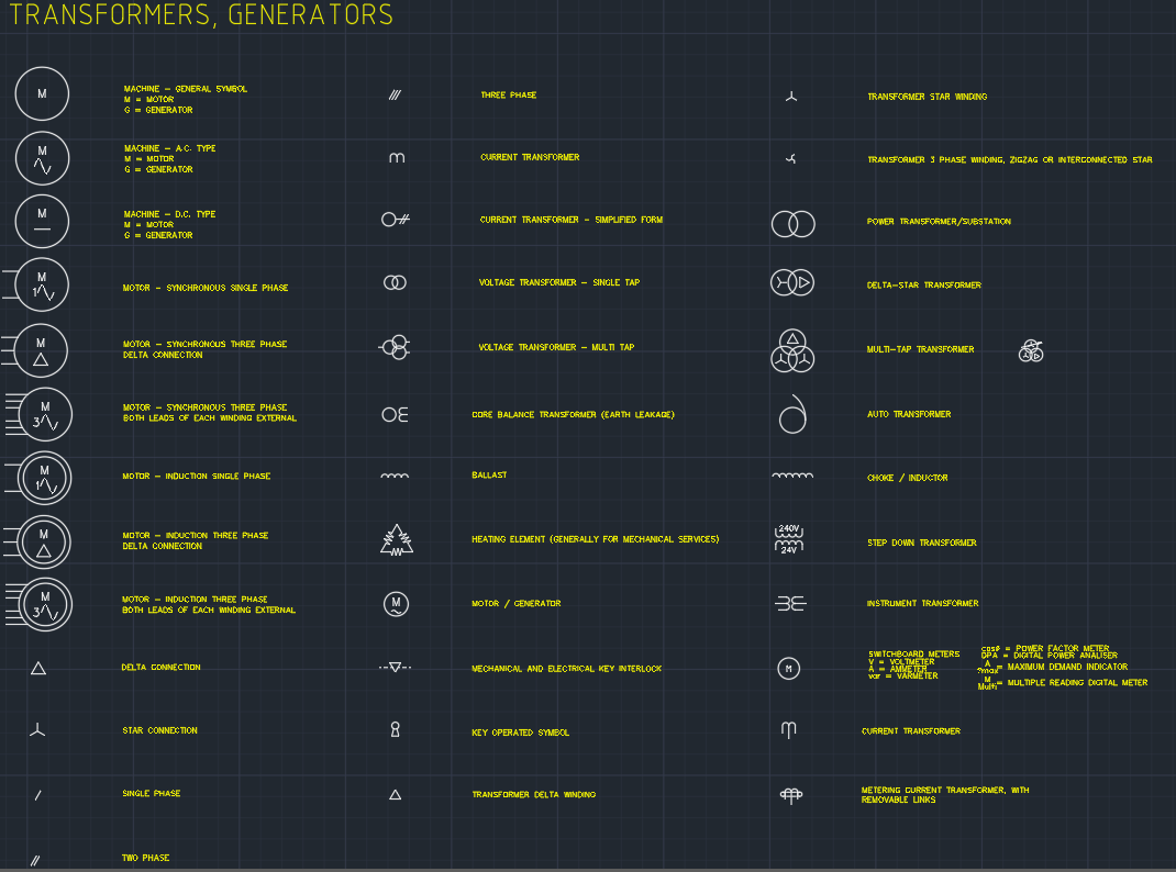 Electrical Symbols Transformers Generators Autocad Free Cad And Instrumentation Diagram Schematic