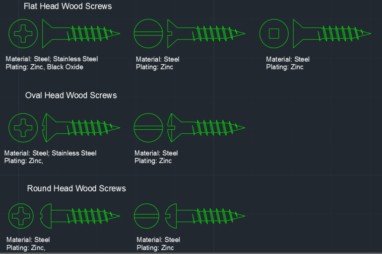 Wood Screws Cad Block And Typical Drawing For Designers