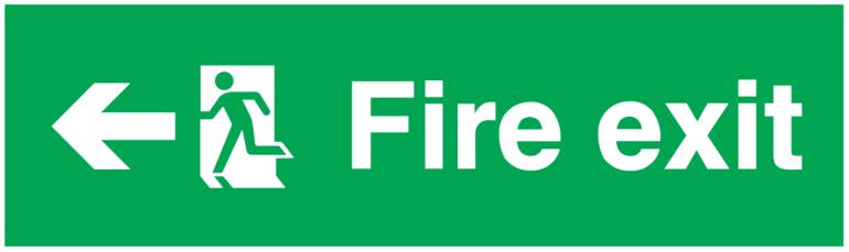 arrow left running man left fire exit sign