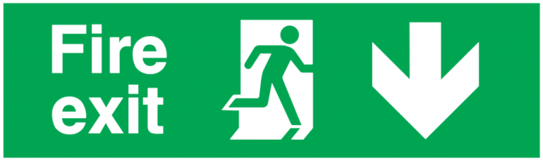 fire exit running man right arrow down