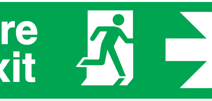 fire exit running man right arrow right