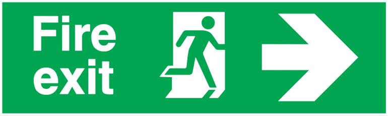 fire exit running man right arrow right