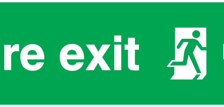 fire exit running man right arrow up sign