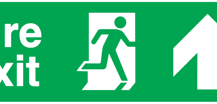 fire exit running man right arrow up