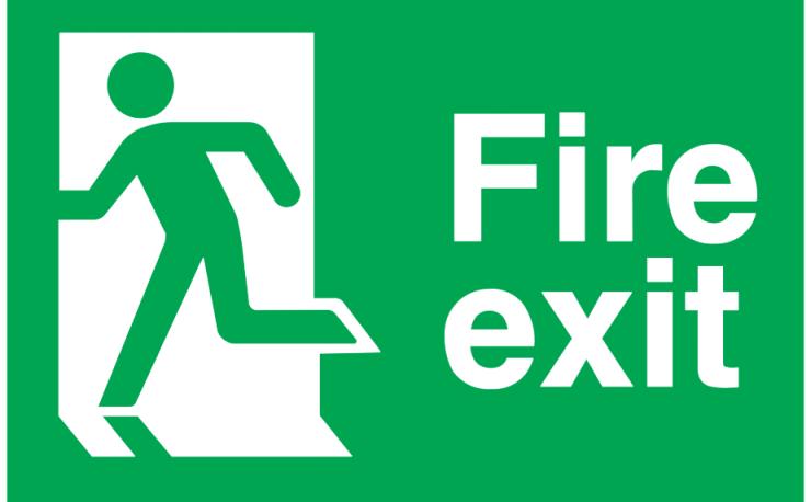 running man left fire exit