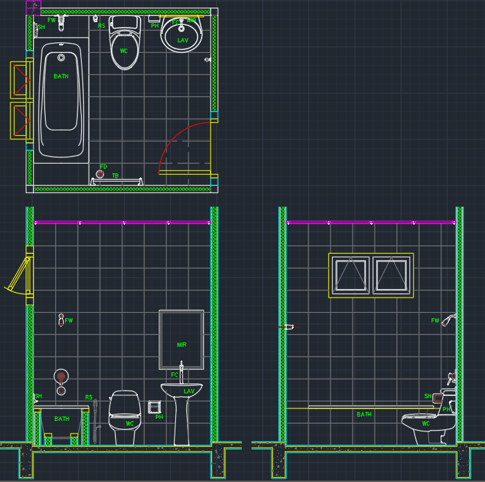 Bathroom Cad Block And Typical Drawing For Designers