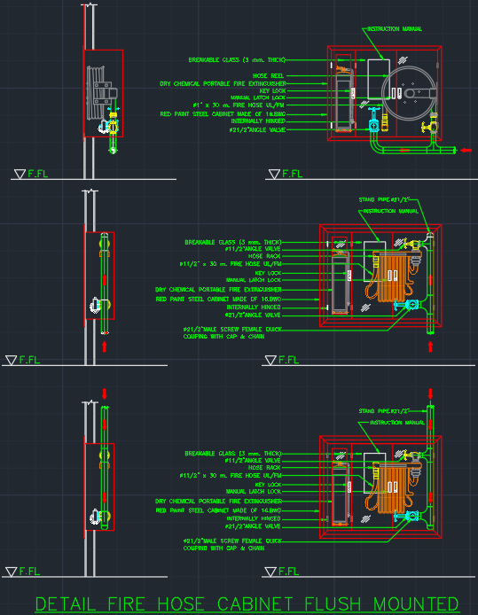 Fire Hose Cabinet Flush Mounted Autocad Free Cad Block