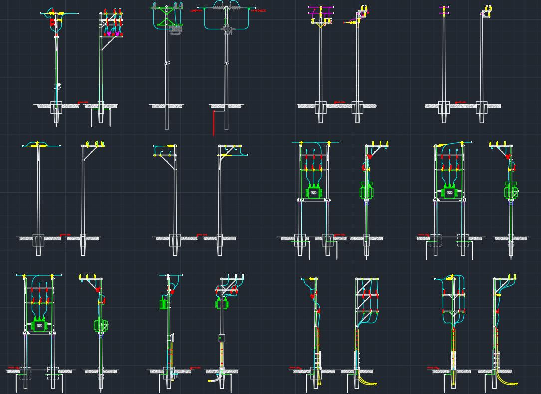 Electric Pole Autocad Free Cad Block Symbols And Cad Drawing