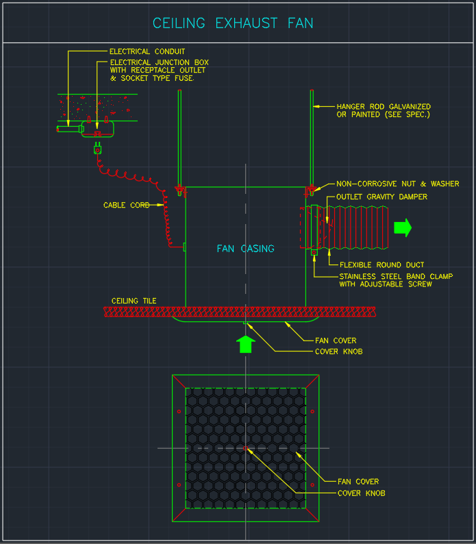 Ceiling Exhaust Fan Cad Block And Typical Drawing For